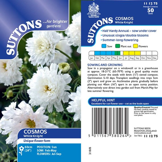 Cosmea Seeds - White Knight