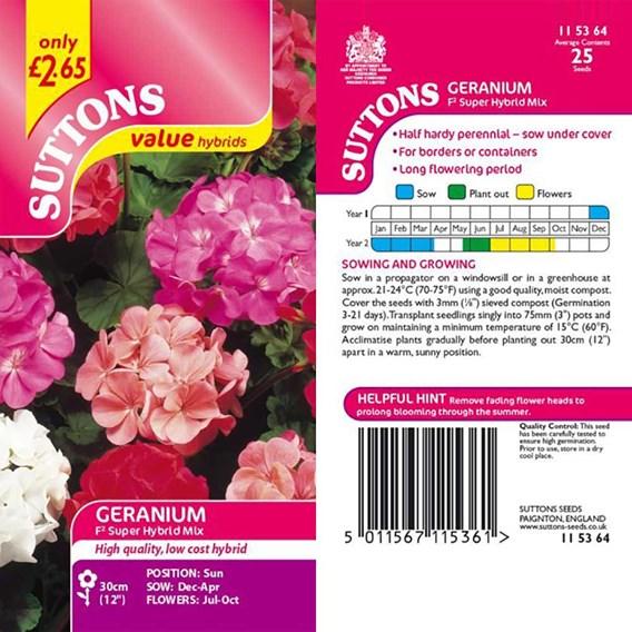 Geranium F2 Seeds - Super Hybrid Mix