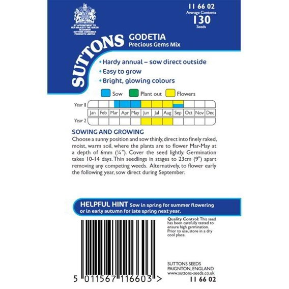 Godetia Seeds - Precious Gems Mix