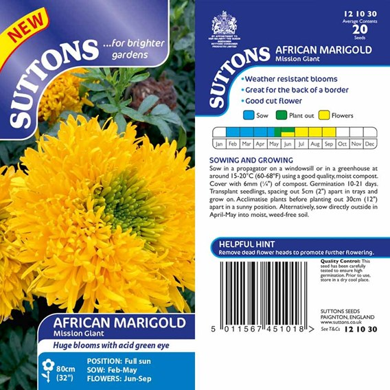 African Marigold  Seeds - Mission Giant