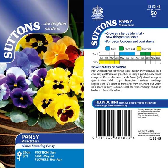 Pansy Seeds - Winter Flowering Mix