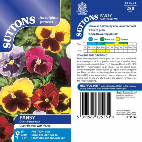 Pansy Seeds - Giant Fancy Mix