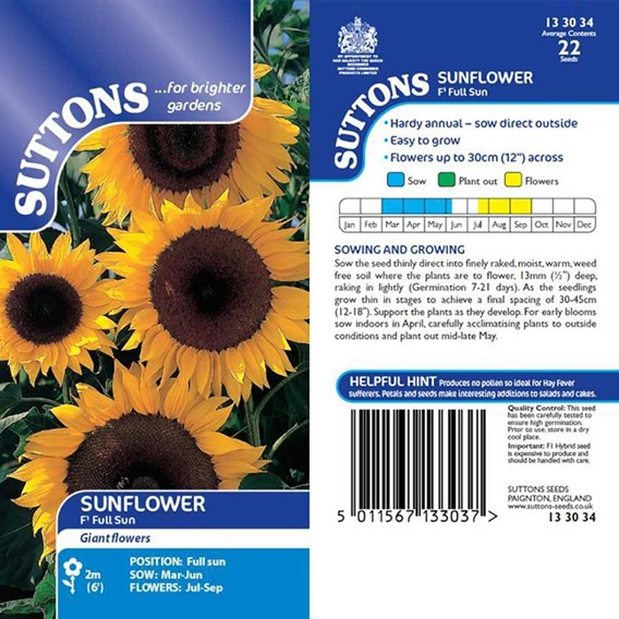 Sunflower Seeds - F1 Full Sun