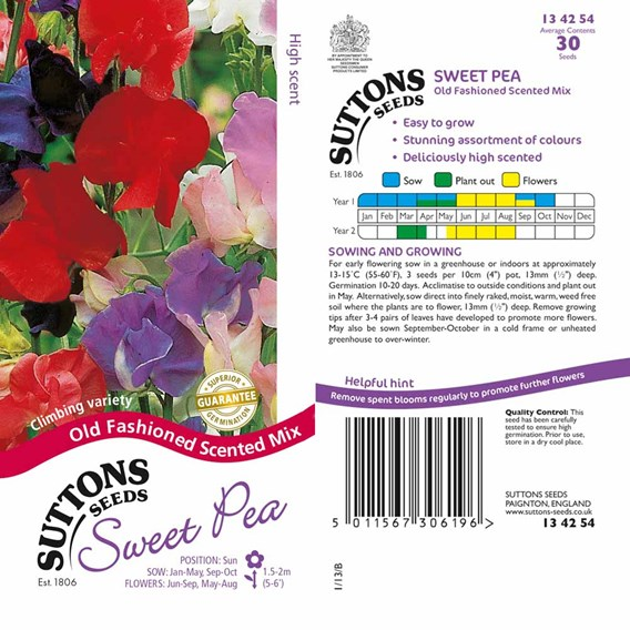 Sweet Pea Seeds - Old Fashioned Scented Mix