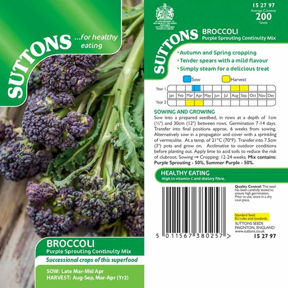 Broccoli seeds - Purple Sprouting Mix