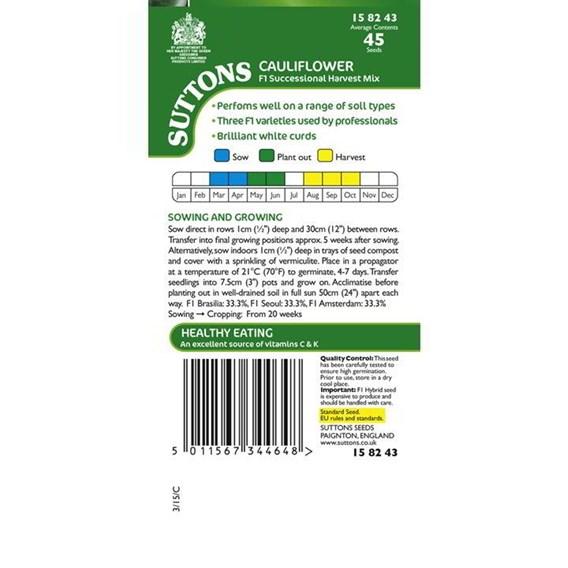 Cauliflower Seeds - F1 Successional Harvest Mix