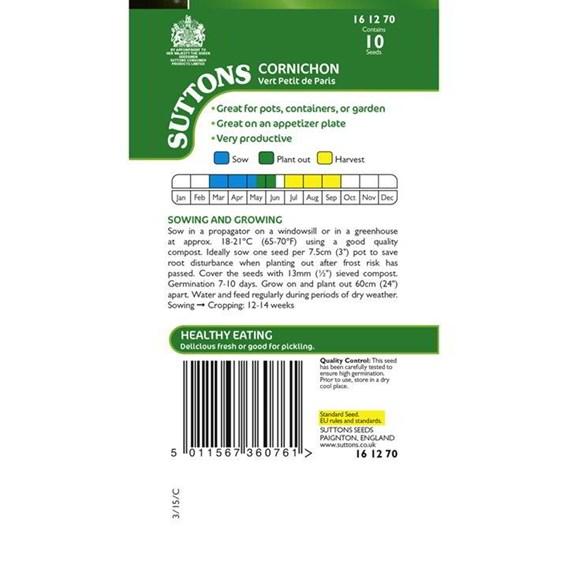 Cornichon Seeds - Vert Petit de Paris