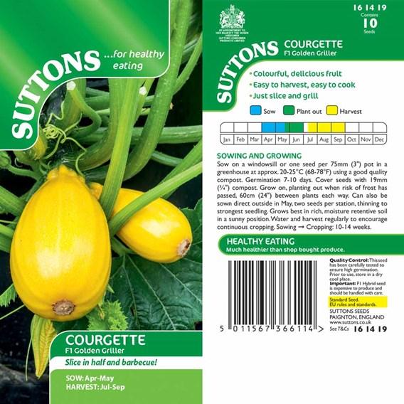 Courgette Seeds - F1 Golden Griller