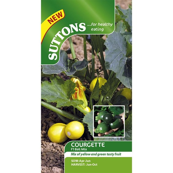 Courgette Seeds - F1 Ball Mix - 18 seeds
