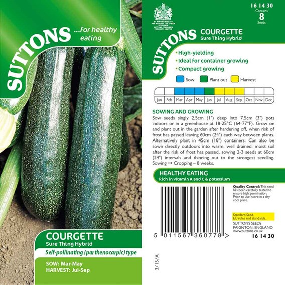 Courgette Seeds - Sure Thing Hybrid