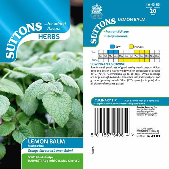 Herb Seeds - Lemon Balm Mandarina