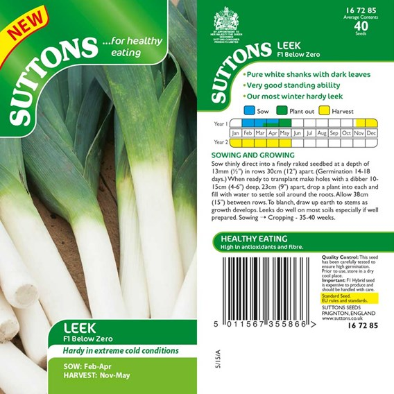 Leek Seeds - F1 Below Zero