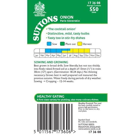 Onion Seeds - Paris Silverskin