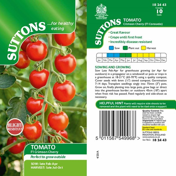 Tomato Seeds - Crimson Cherry F1