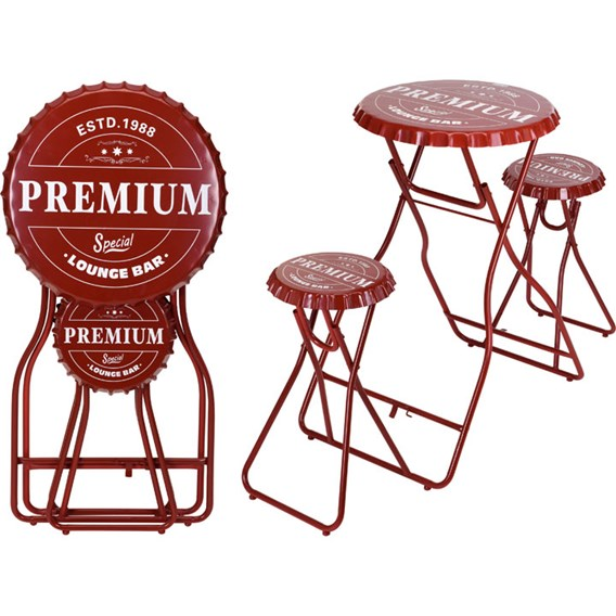 Bar Table with Stools - Red