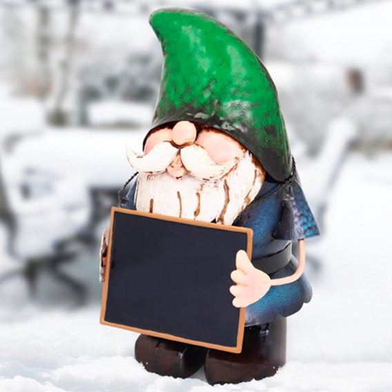 Metal Gnome with Chalk Board