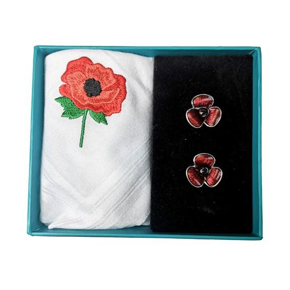 Poppy Handkerchief and Cufflink Set
