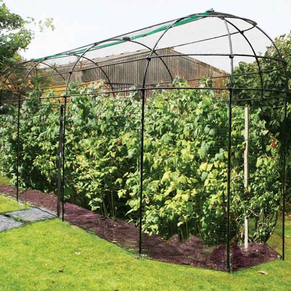 Long Narrow Fruit Cage With Zip Net  W 1.83M X L 7.32M X H 2.44M - Matt Black
