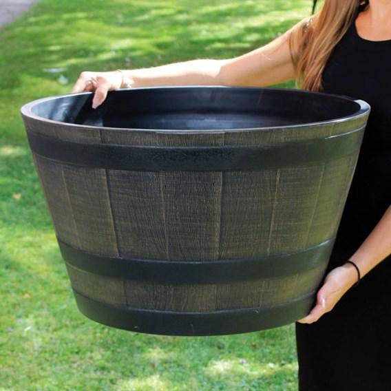 Wooden Barrel Effect Plastic Planters