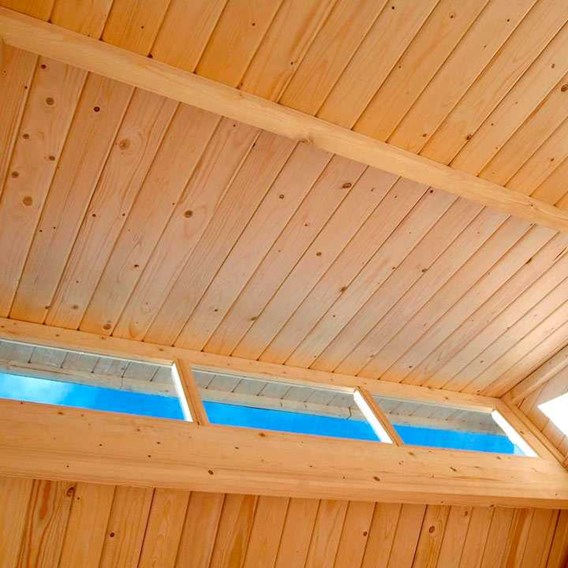 Skylight Shed with Store - Unpainted Natural (7' x 10')