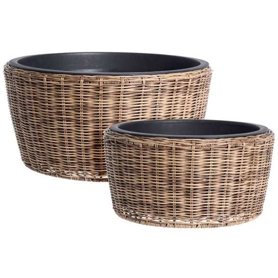 Set of Two Poly Rattan Round Plant Pots