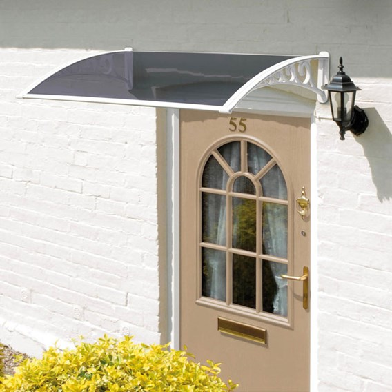 1M Door Canopy White Grey Cover