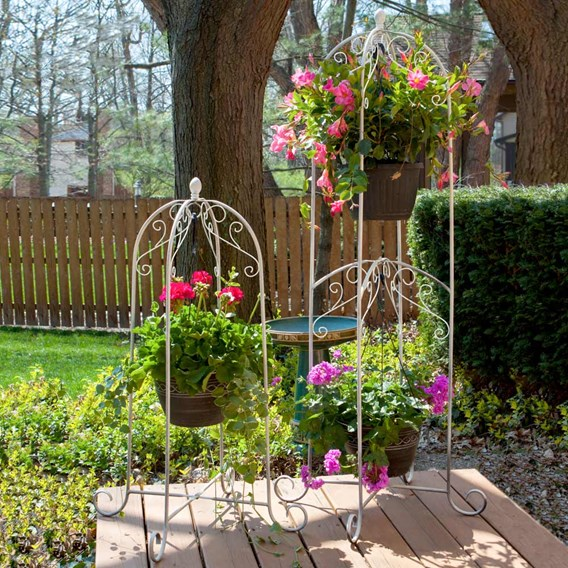 FRENCH COUNTRY SCROLL HANGING BASKET STAND