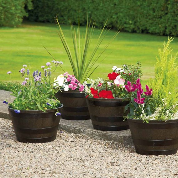 Medium Wooden Barrel Effect Plastic Planter (Box of 10)