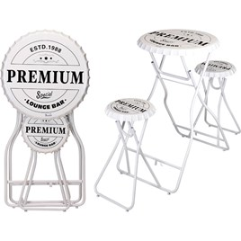 Bar Table with Stools - White
