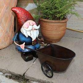 Metal Gnome with Wheelbarrow Planter