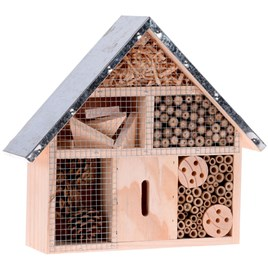 Wooden Insect Hotel with Metal Roof