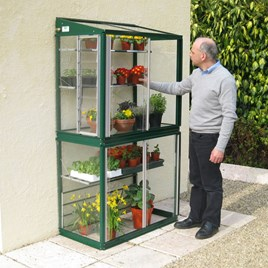 Deluxe Mini Lean to Greenhouse Racing Green