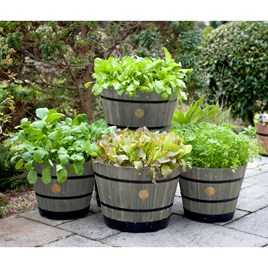 Wooden Barrel Planter SMALL - Grey Wash (Pair)