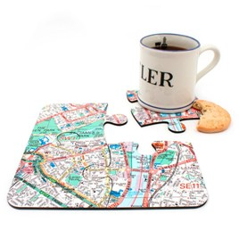 Personalised Map Jigsaw Coasters - London